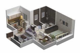 Desain Apartemen Satu Kamar